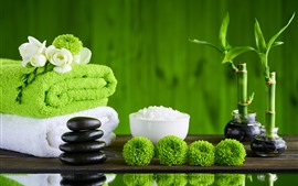 SPA theme, towel, green flowers, bamboo, stones, salt