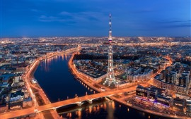 Preview wallpaper Saint Petersburg, Russia, city night view, tower, bridge, river