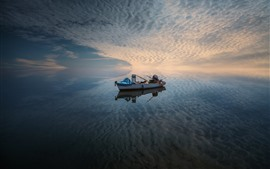 Preview wallpaper Sea, boat, sky, clouds, water reflection