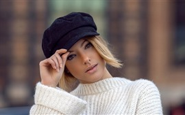 Preview wallpaper Short hair girl, blonde, hat, white sweater