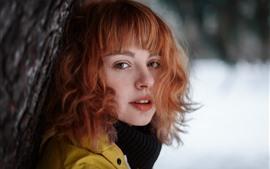 미리보기 배경 화면 짧은 머리 소녀, 얼굴, 봐, 눈, 겨울