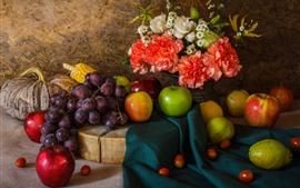 Some fruit and flowers, apples, grapes, pears