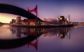 Preview wallpaper Spain, Bilbao, bridge, museo, river, dusk