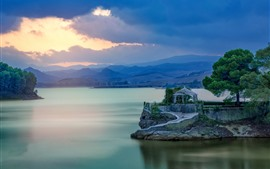 Preview wallpaper Spain, Malaga, gazebo, mountain, lake