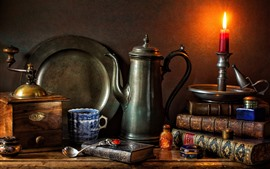 Preview wallpaper Still life, candle, flame, books, kettle, cup, spoon