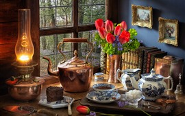 Preview wallpaper Still life, red tulips, kettle, lamp, window, tea, cake, books