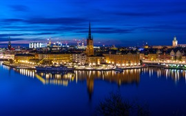 Preview wallpaper Stockholm, Sweden, city, night, river, ship, lights