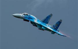 Preview wallpaper Su-27 fighter, flight, sky, aircraft