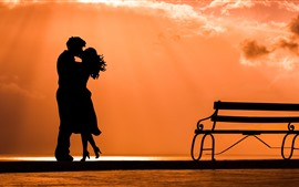 Puesta de sol, banco, pareja, beso, silueta