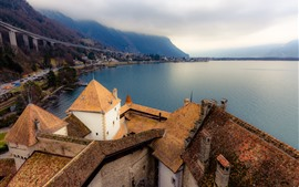 Preview wallpaper Switzerland, Lake Geneva, mountains, houses