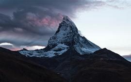 Suíça, Matterhorn, montanha, neve, nuvens