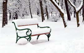 Preview wallpaper Thick snow, winter, bench, trees, park