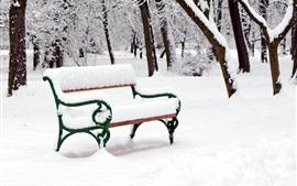 Neve espessa, inverno, banco, árvores, parque