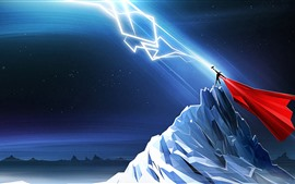 Preview wallpaper Thor, lightning, mountains, night, art picture
