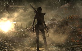 Preview wallpaper Tomb Raider, Lara Croft, back view, ship, wind