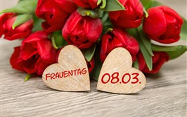 Dois corações de amor, tulipas vermelhas, românticas