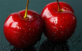 Preview wallpaper Two red cherries close-up, water droplets