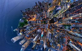 Preview wallpaper USA, New York, top view the city, skyscrapers