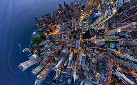 USA, New York, vue de dessus la ville, gratte-ciels
