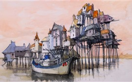 Preview wallpaper Watercolor painting, dock, houses, boat, sea