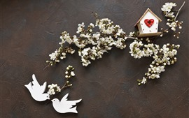 Preview wallpaper White flowers, two birds, spring, birdhouse, creative picture