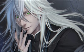 Preview wallpaper White hair fantasy man, green eyes