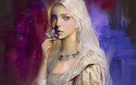 Preview wallpaper White hair girl, art painting