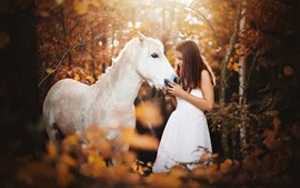 Preview wallpaper White skirt girl and white horse, forest