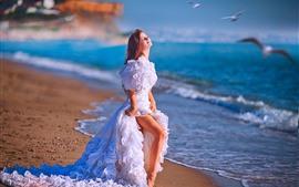 Preview wallpaper White skirt girl, bride, sea, beach, birds