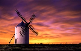 Preview wallpaper Windmill, sunset, sky