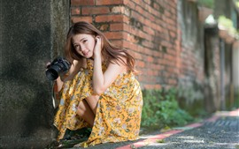 Preview wallpaper Young Asian girl, long hair, camera