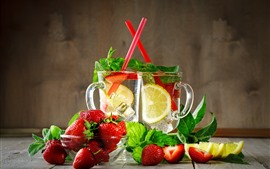 Preview wallpaper lemonade, drinks, strawberry