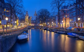Preview wallpaper Amsterdam, Netherland, river, boat, trees, night, lights