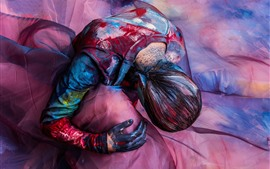 Art photography, girl, colorful paint, silk