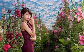 Preview wallpaper Asian girl, purple skirt, pink flowers, sky, clouds, summer