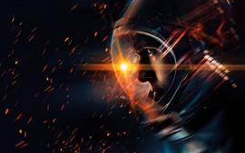 Astronauta, faíscas, espaço