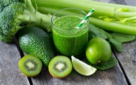 Abacate, kiwi, limão verde, bebidas