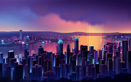 Preview wallpaper Beautiful Hong Kong night, skyscrapers, vector picture