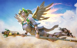 Lindo anjo, menina loira, asas, voo, céu, fantasia