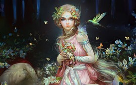 Beautiful fantasy girl, butterfly, birds, art picture