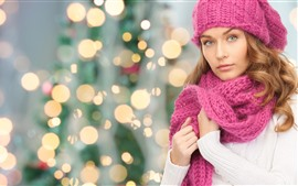 Preview wallpaper Beautiful girl, sweater, pink scarf, light circles