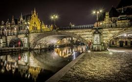 Bélgica, bruges, rio, ponte, noturna, luzes, cidade