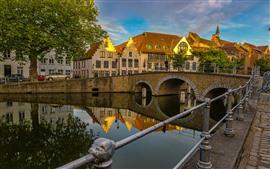 Bélgica, Brujas, río, puente, casas, ciudad, atardecer