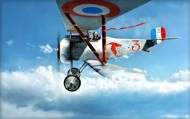 Biplano, piloto, céu, vôo