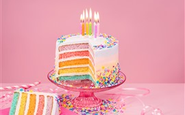 Birthday cake, colorful layers, rainbow color, candles, flame