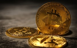 Preview wallpaper Bitcoin, golden coin, digital money