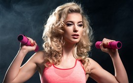 Preview wallpaper Blonde girl, hairstyle, fitness