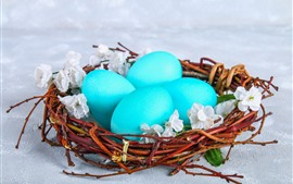 Preview wallpaper Blue eggs, nest, Easter