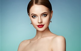 Preview wallpaper Blue eyes fashion girl, makeup, earring, red lip