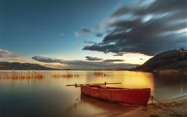 Barco, lago, nuvens, anoitecer, costa